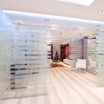 Прозрачные стеклянные перегородки с рисунком для дома