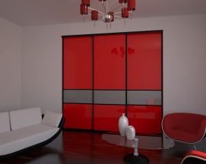60.Шкаф-купе 1,8м. Senator открытый. Цвет - коньяк. Двери стекло лакобель красное с разделениями и пескоструйным рисунком.