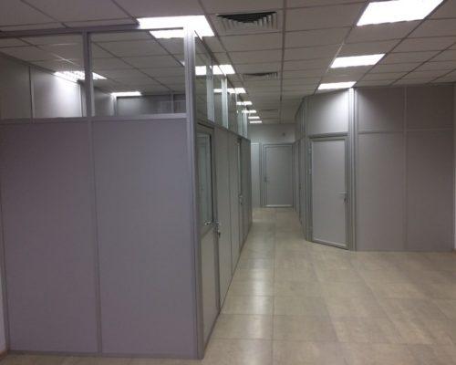 Стационарные офисные перегородки из алюминиевого профиля ЛДСП